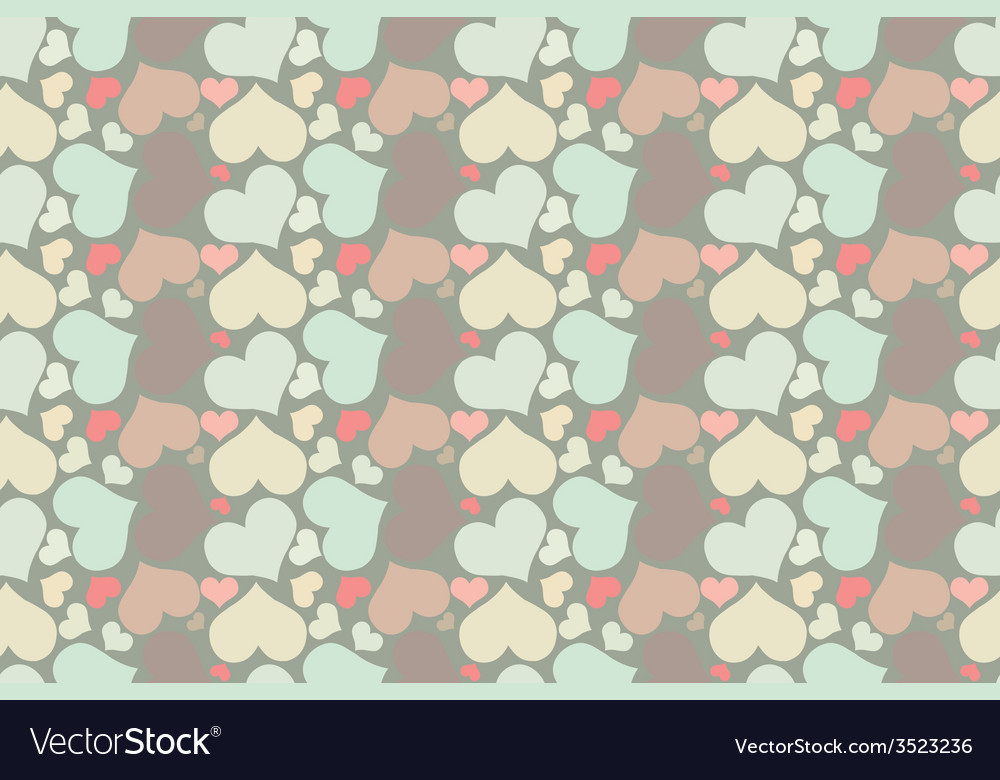 Retro seamless pattern with colorful hearts vector | Price: 1 Credit (USD $1)