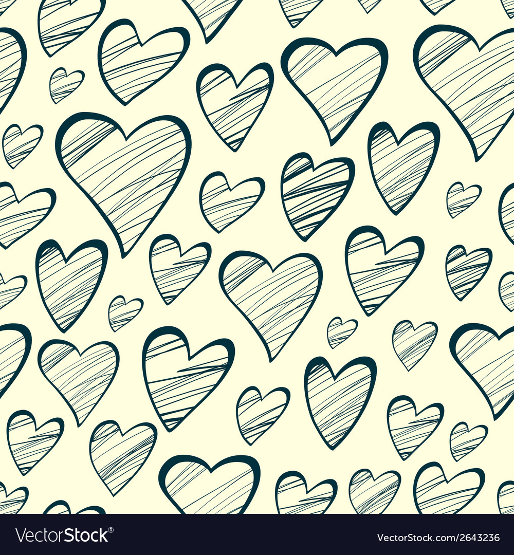 Seamless pattern with outline decorative hearts vector | Price: 1 Credit (USD $1)