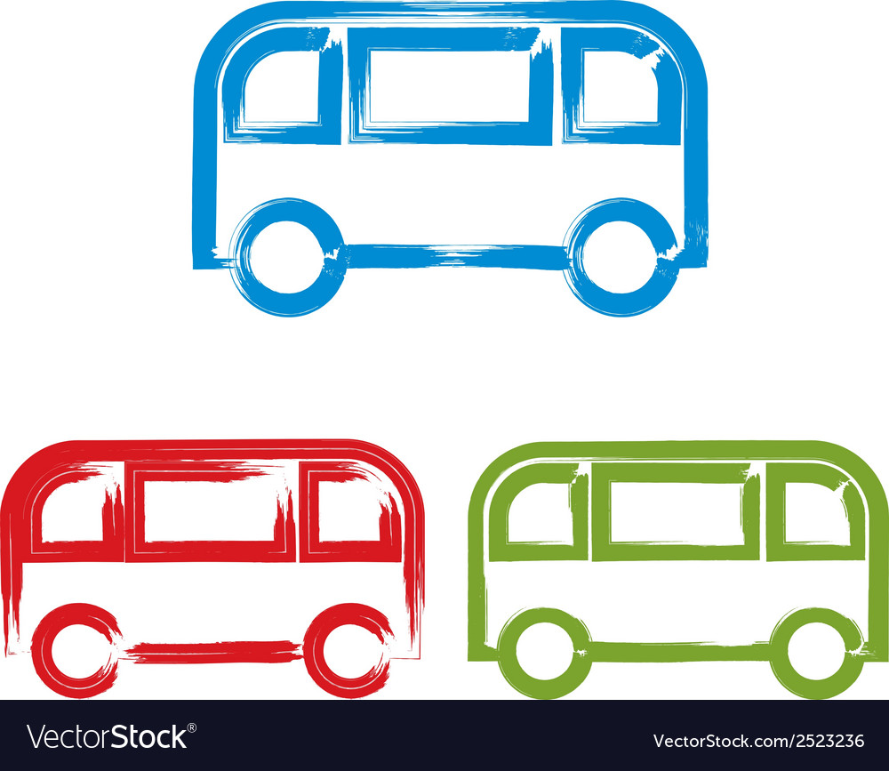 Set of hand-drawn colorful bus icons brush drawing vector   Price: 1 Credit (USD $1)