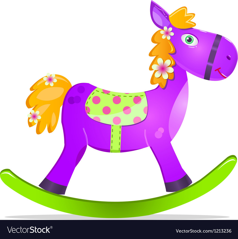 Violet rocking horse toy vector | Price: 3 Credit (USD $3)