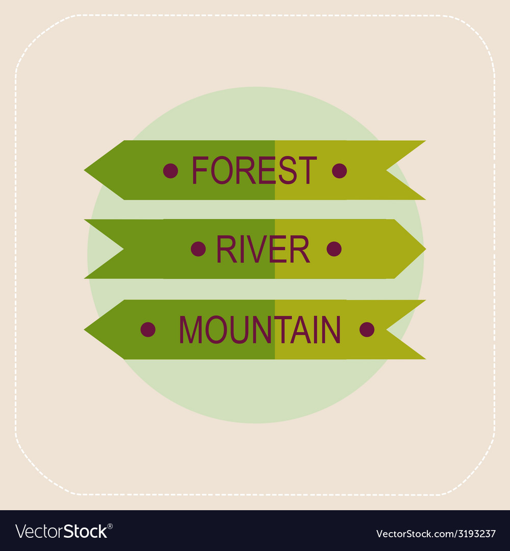 Arrows forest river mountain icon vector | Price: 1 Credit (USD $1)
