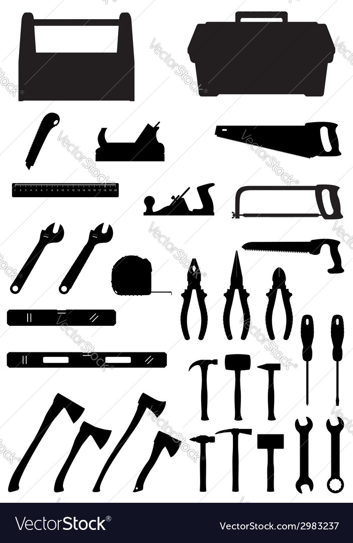 Black silhouette set tools vector | Price: 1 Credit (USD $1)