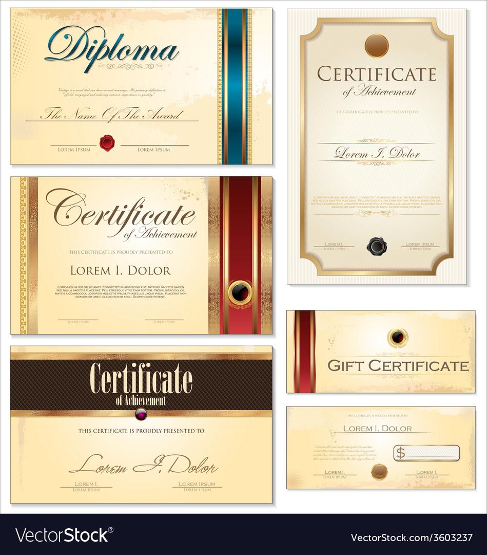 Certificate template set vector | Price: 1 Credit (USD $1)