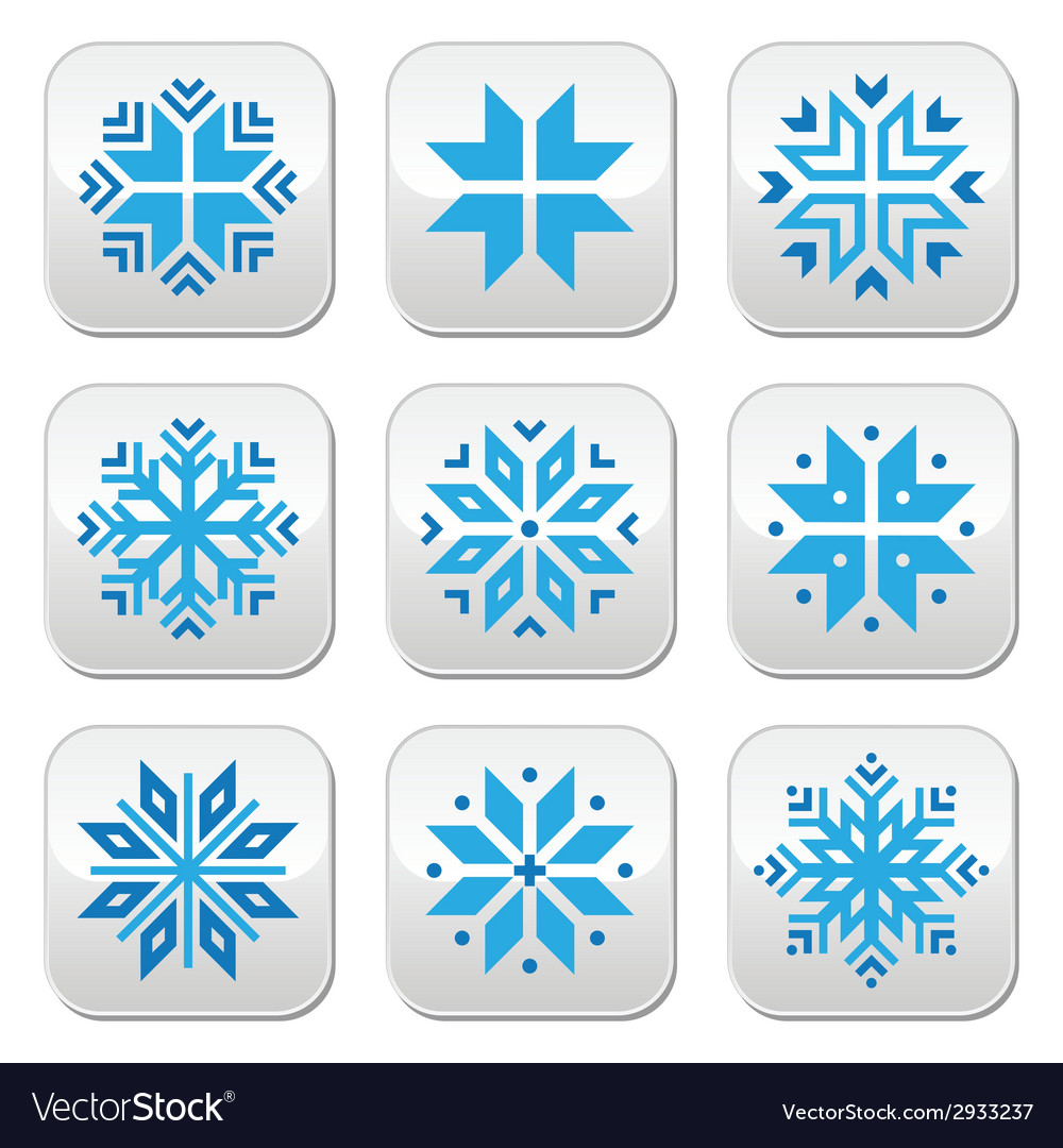 Christmas winter blue snowflakes buttons s vector | Price: 1 Credit (USD $1)
