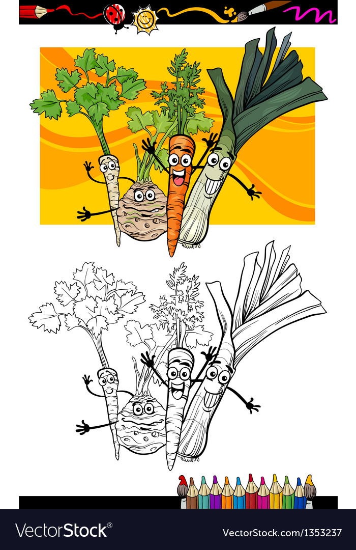 Comic vegetables group for coloring book vector | Price: 1 Credit (USD $1)