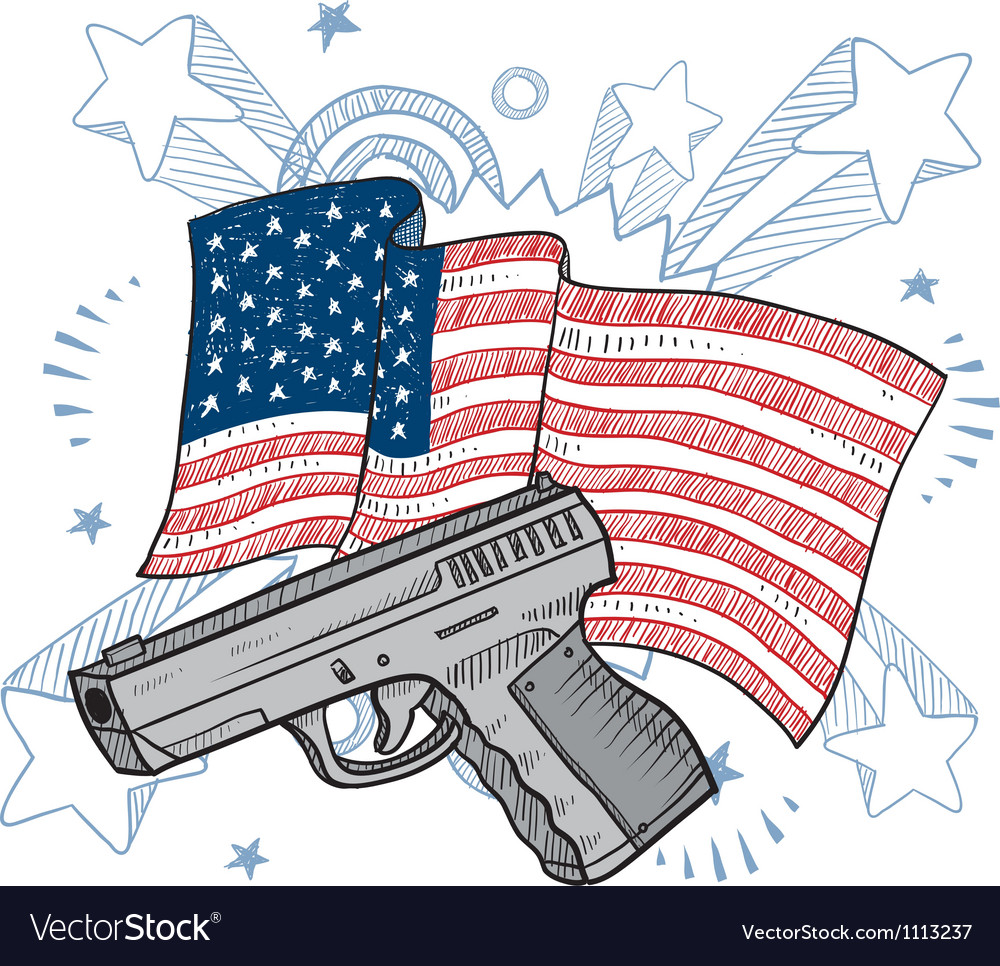 Doodle americana gun vector | Price: 1 Credit (USD $1)