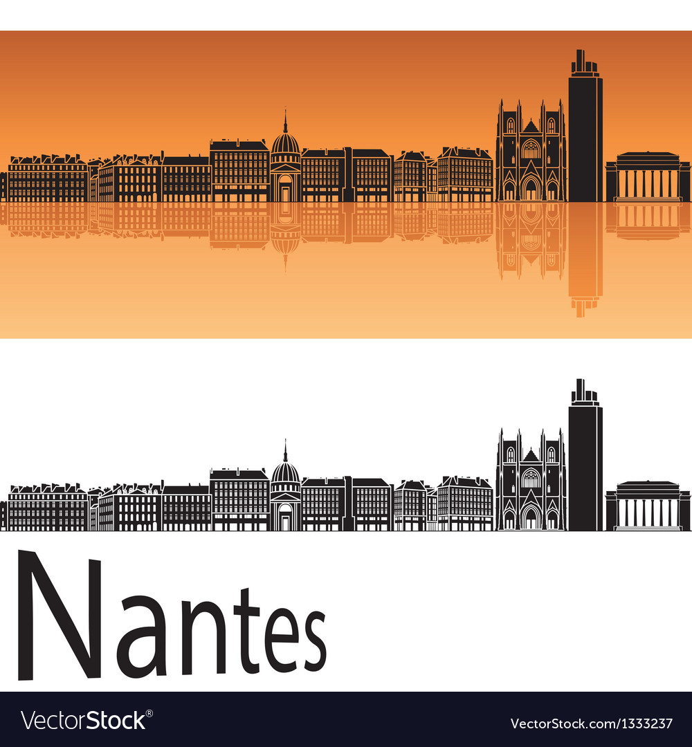 Nantes skyline in orange background vector | Price: 1 Credit (USD $1)