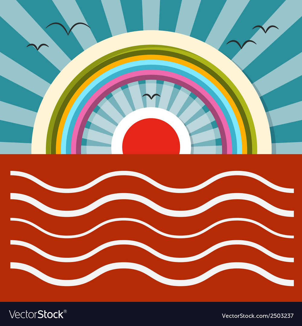 Ocean sunset - sunrise with rainbow vector | Price: 1 Credit (USD $1)