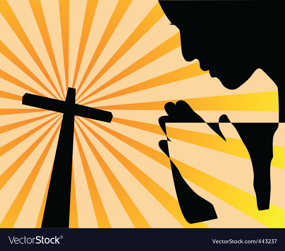 Praying before the cross vector | Price: 1 Credit (USD $1)