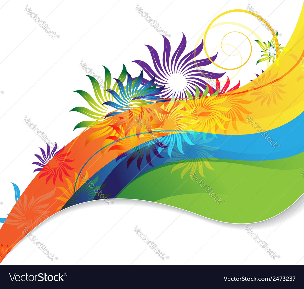 Rainbow flower background vector | Price: 1 Credit (USD $1)