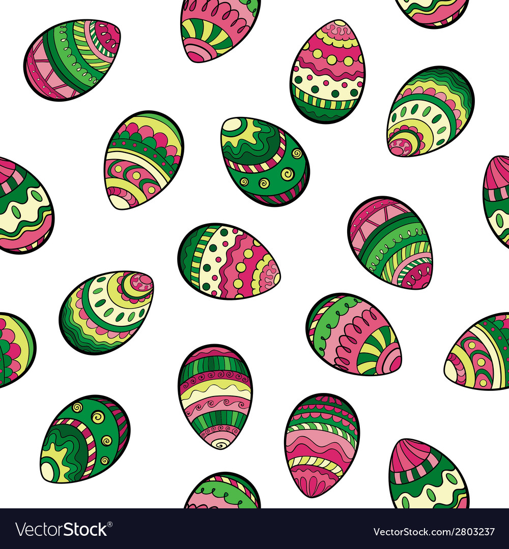 Seamless easter pattern with colorful eggs vector | Price: 1 Credit (USD $1)