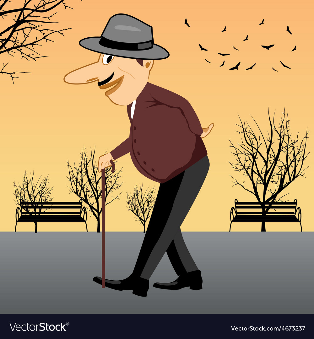 Senior man walking with a cane vector | Price: 1 Credit (USD $1)