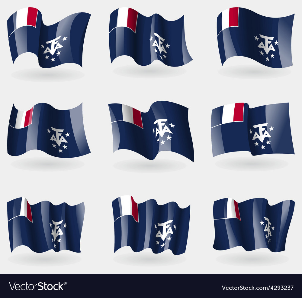 Set of french and antarcic flags in the air vector | Price: 3 Credit (USD $3)