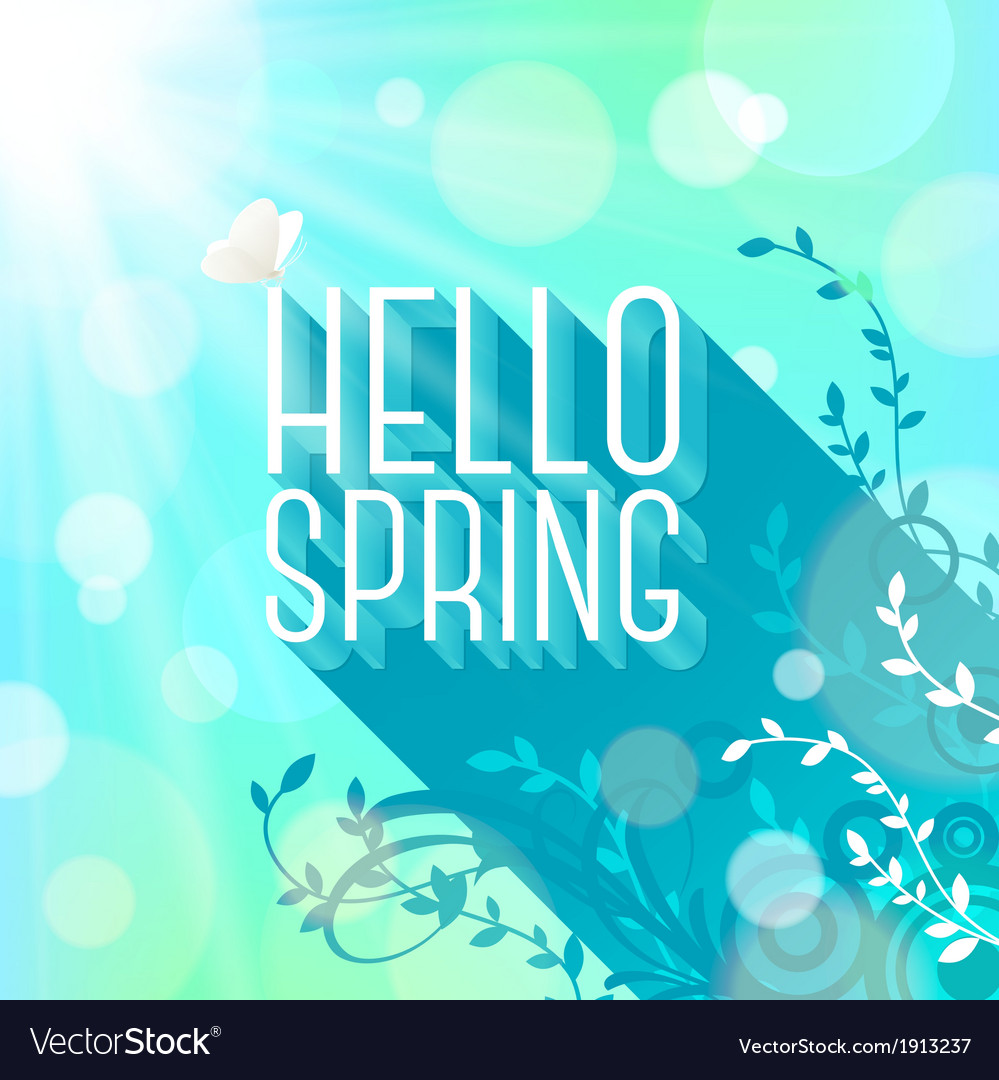 Spring greeting butterfly on letters with long vector | Price: 1 Credit (USD $1)