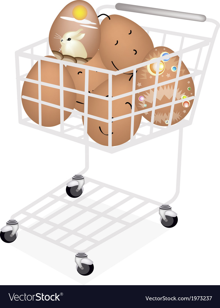 Stack of easter egg in shopping cart vector | Price: 1 Credit (USD $1)