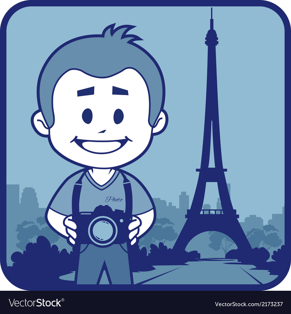 Teaser with photographer travels through france vector | Price: 1 Credit (USD $1)