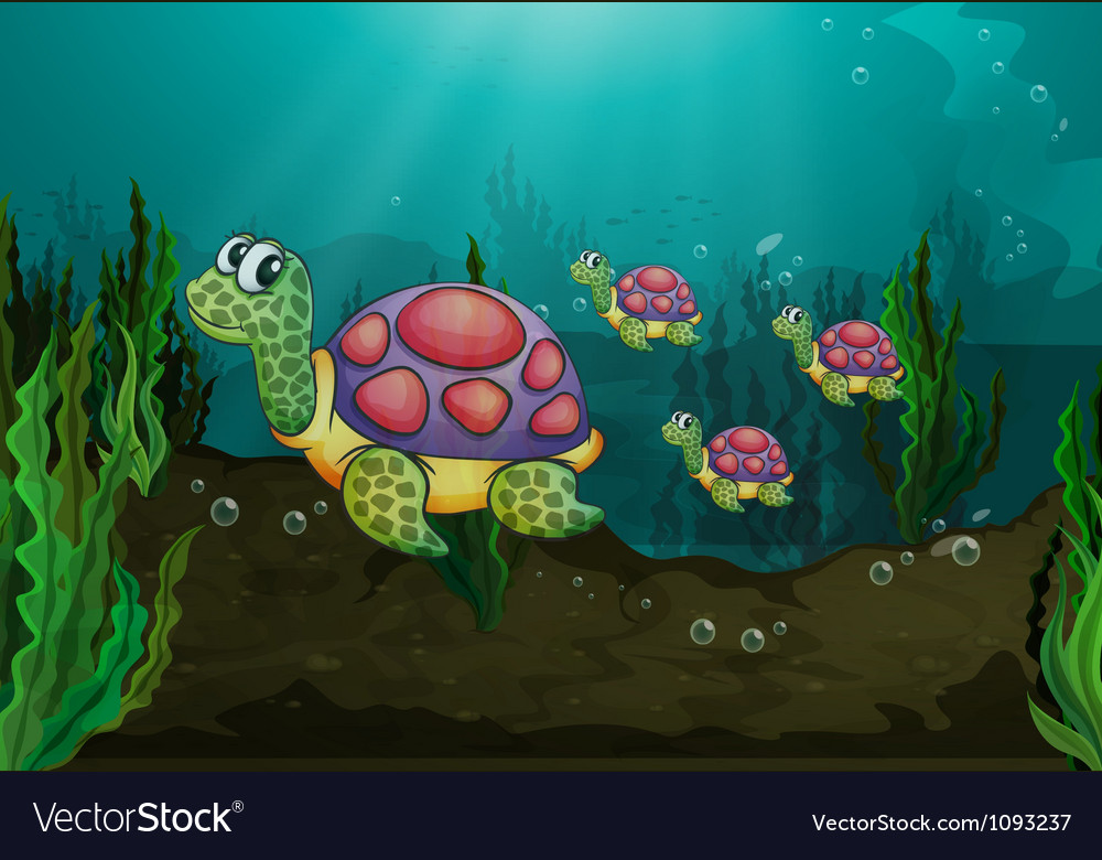 Underwater turtles vector | Price: 3 Credit (USD $3)
