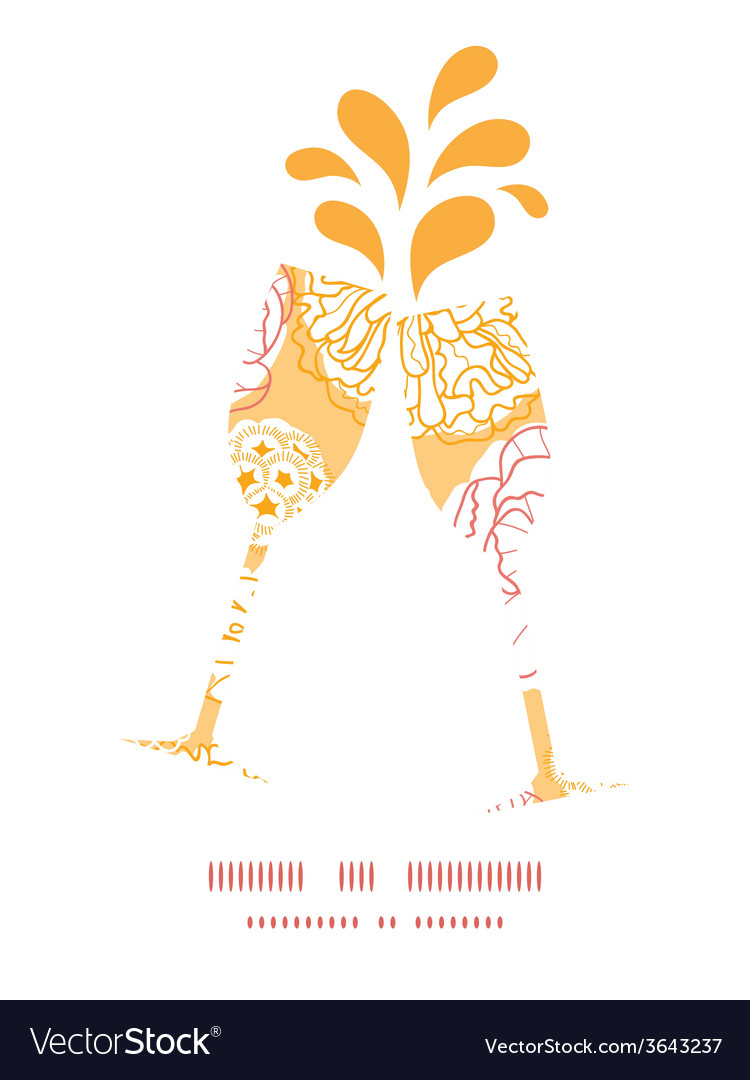 Warm day flowers toasting wine glasses silhouettes vector | Price: 1 Credit (USD $1)