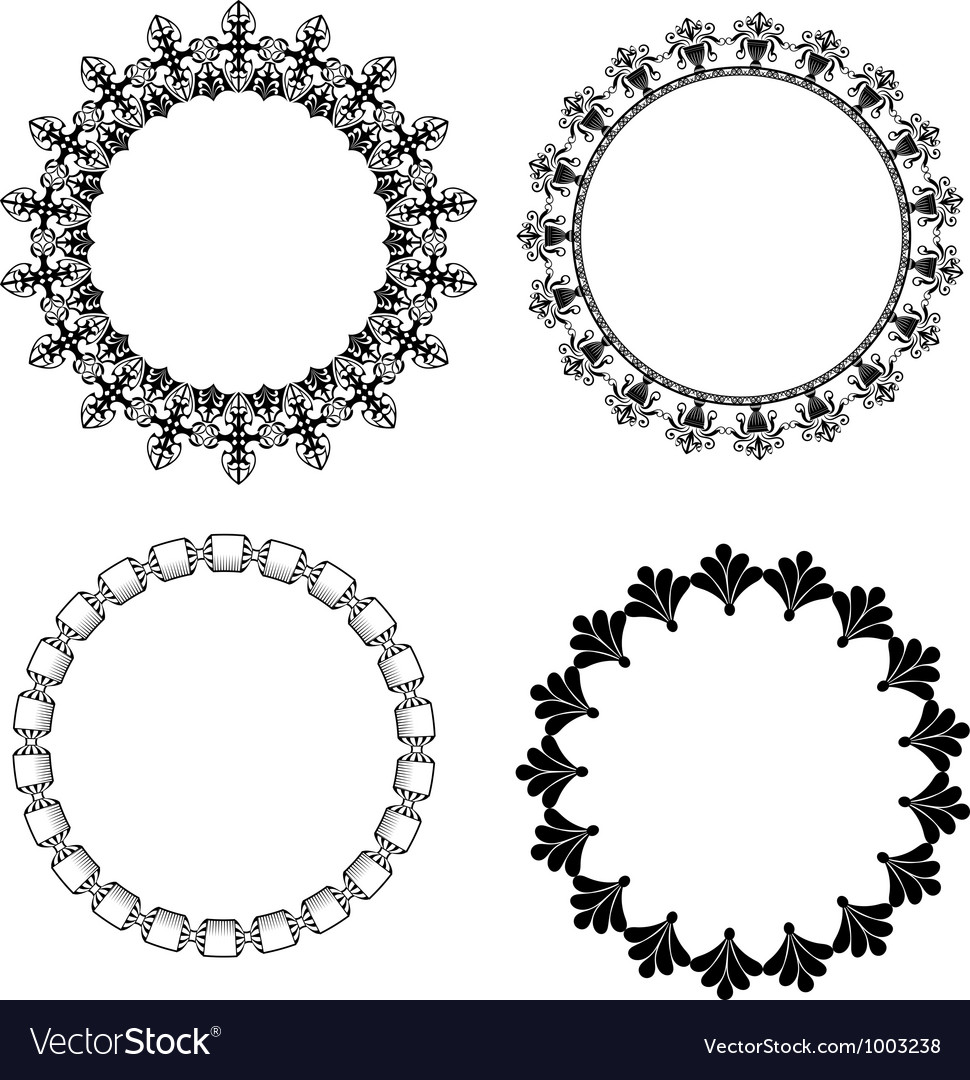 A set of round frames with ornament vector | Price: 1 Credit (USD $1)