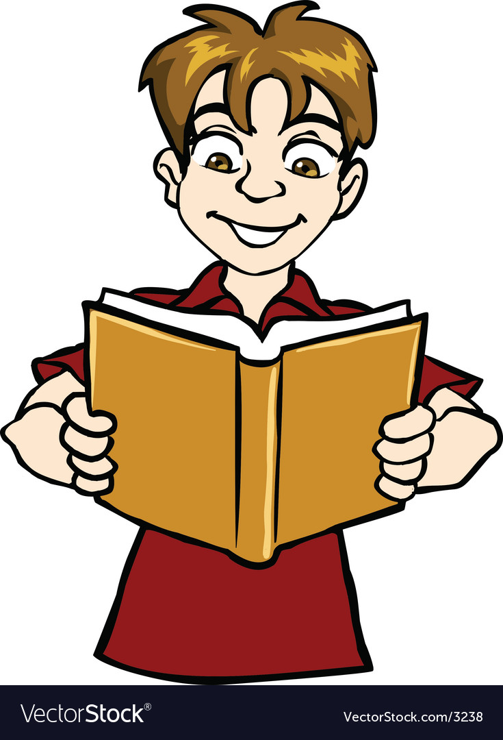 Boy reading vector | Price: 1 Credit (USD $1)