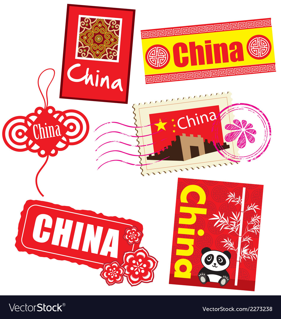 China country label vector | Price: 1 Credit (USD $1)