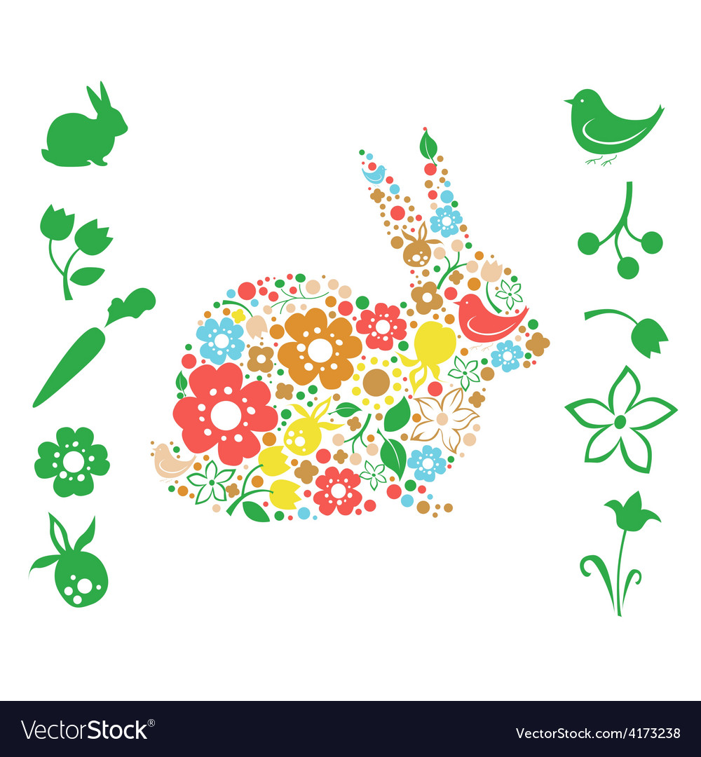 Floral easter elements vector | Price: 1 Credit (USD $1)