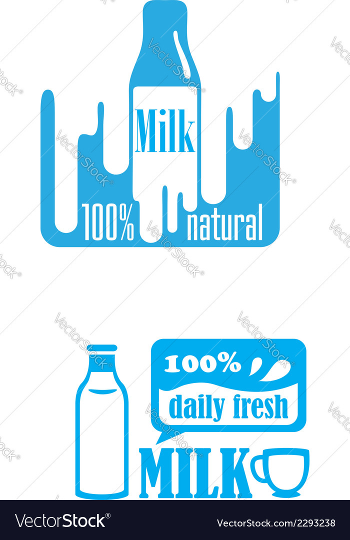 Fresh dairy and 100 percent natural milk labels vector | Price: 1 Credit (USD $1)