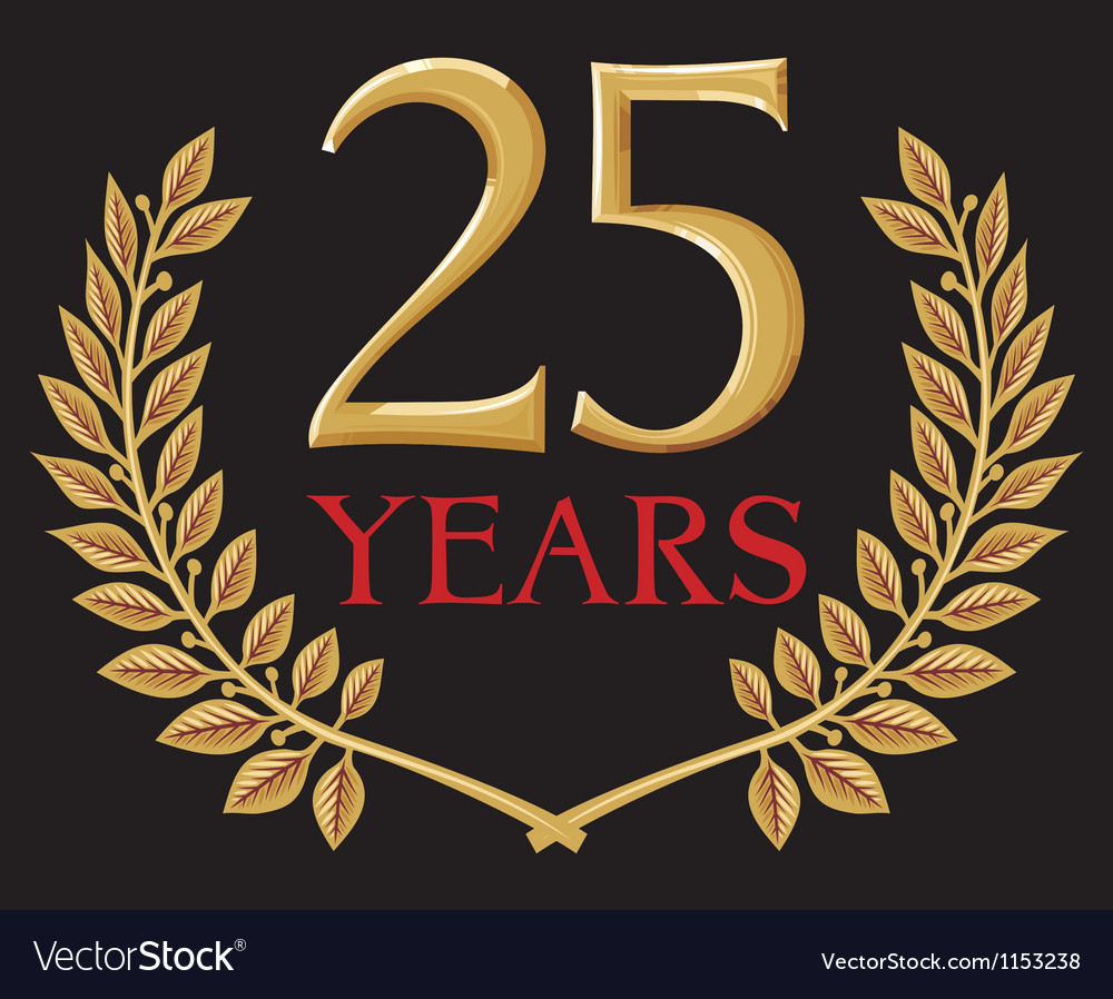 Golden laurel wreath twenty five years anniversary vector | Price: 1 Credit (USD $1)