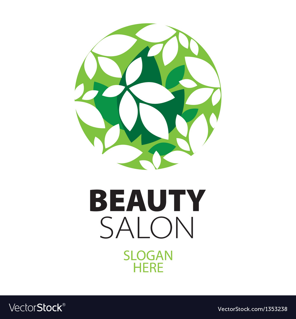 Green ball of leaves logo for beauty salon vector | Price: 1 Credit (USD $1)
