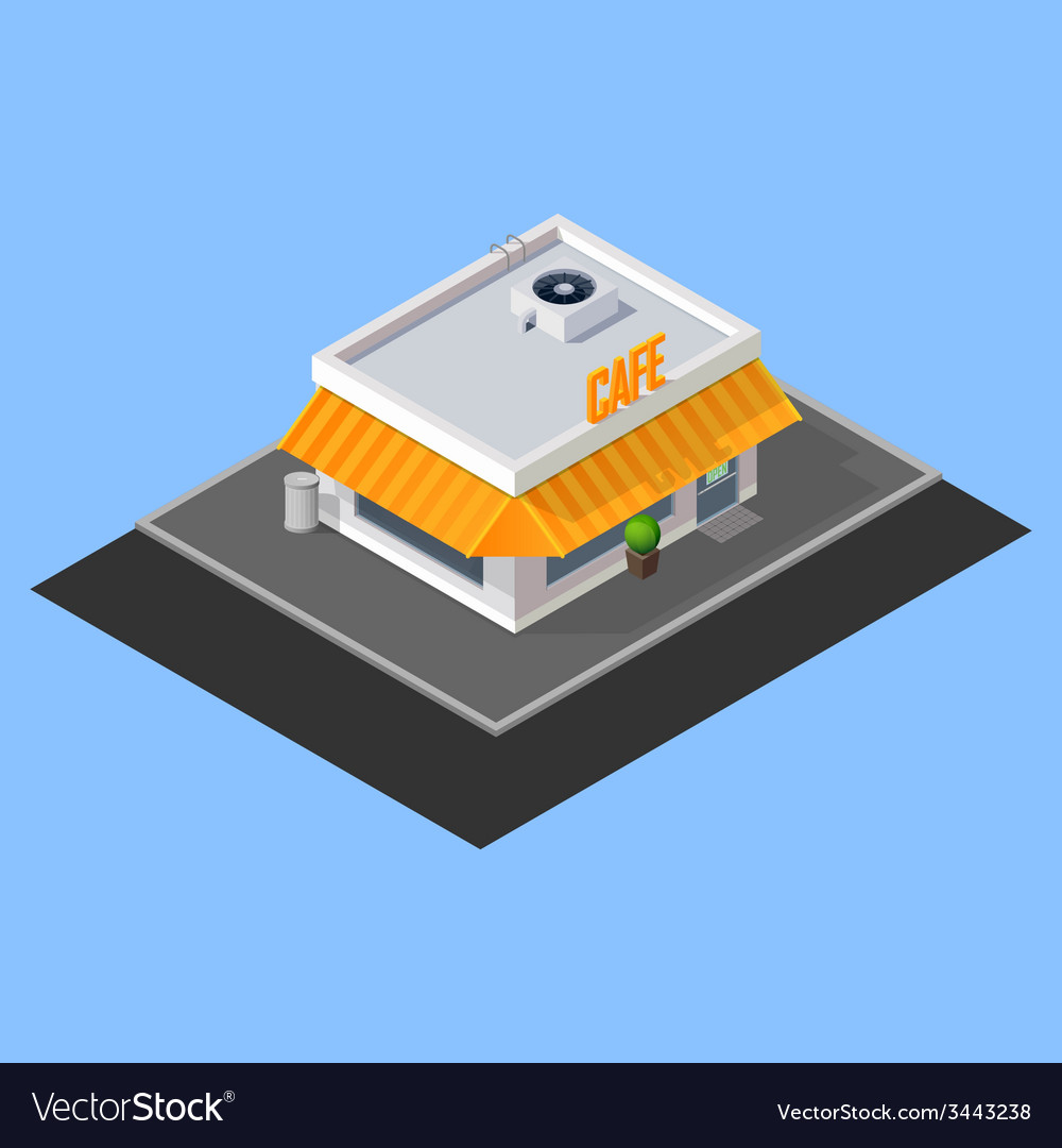 Isometric cafe building vector | Price: 1 Credit (USD $1)