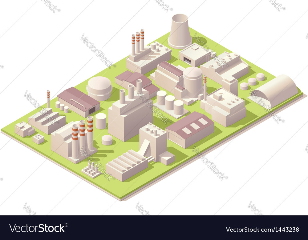 Isometric factory buildings vector | Price: 3 Credit (USD $3)