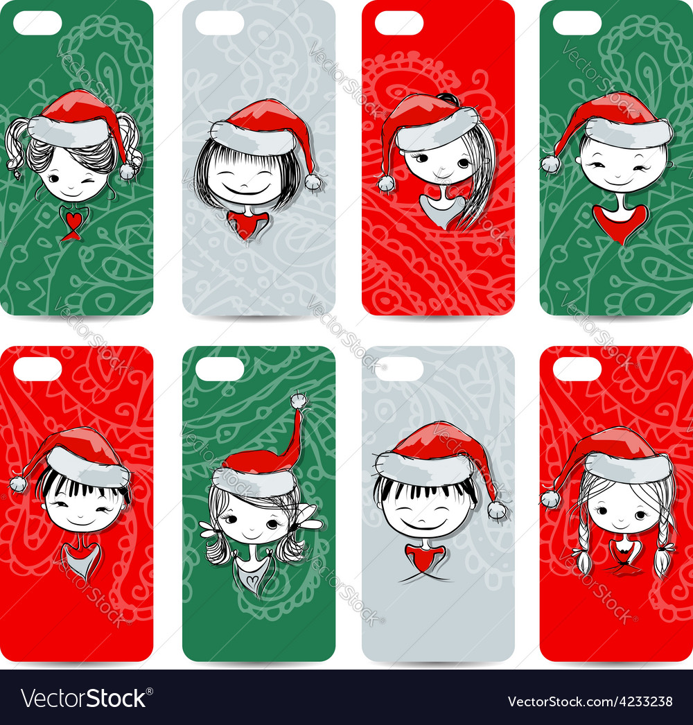 Mobile phone cover back santa girls for your vector