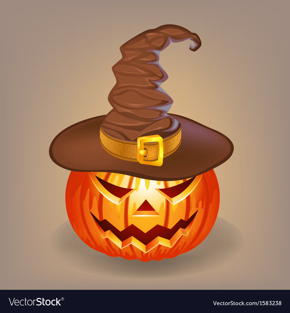 Sly pumpkin in a witch hat for halloween vector