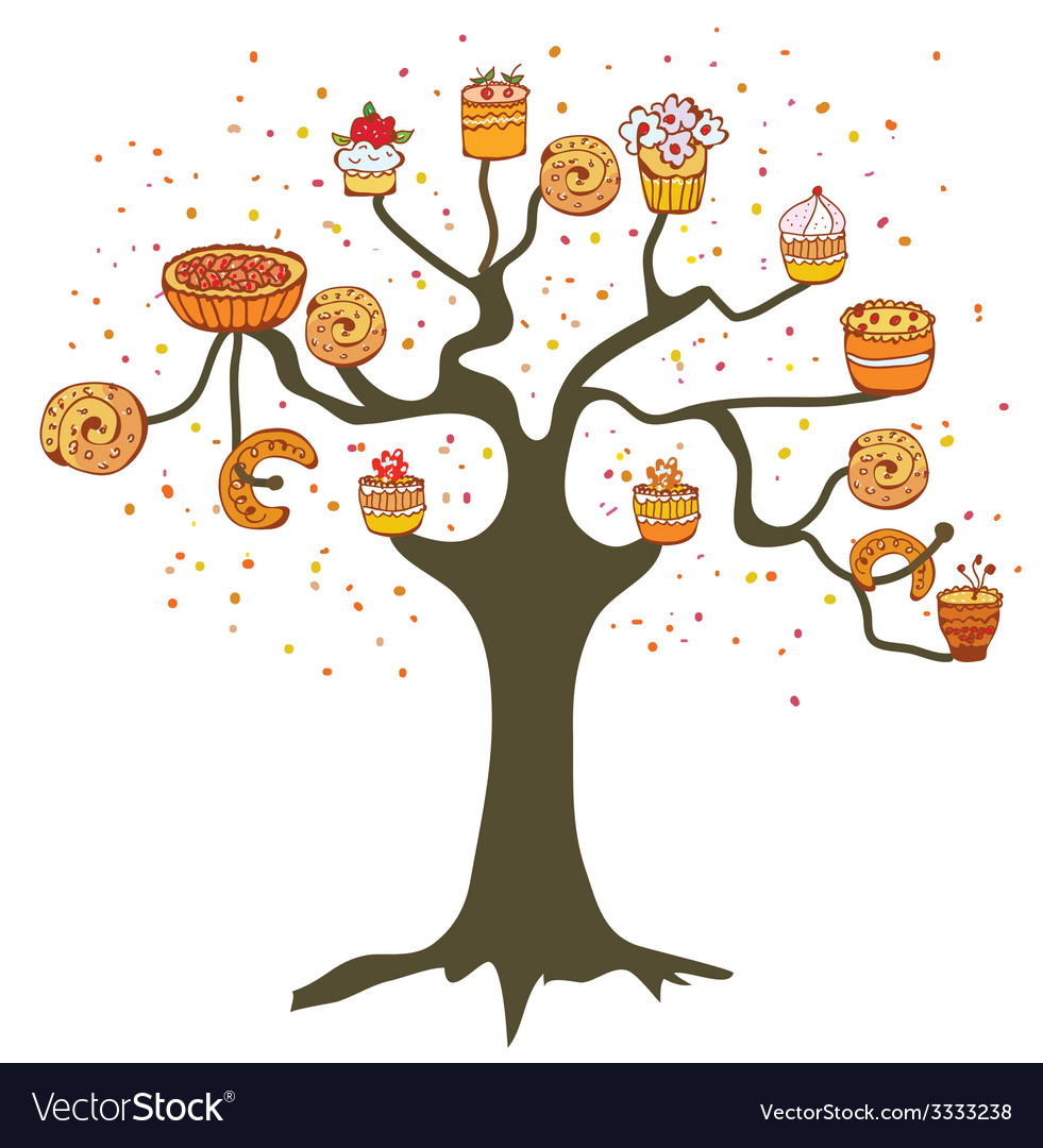 Tree with cakes - concept for the bakery vector | Price: 1 Credit (USD $1)