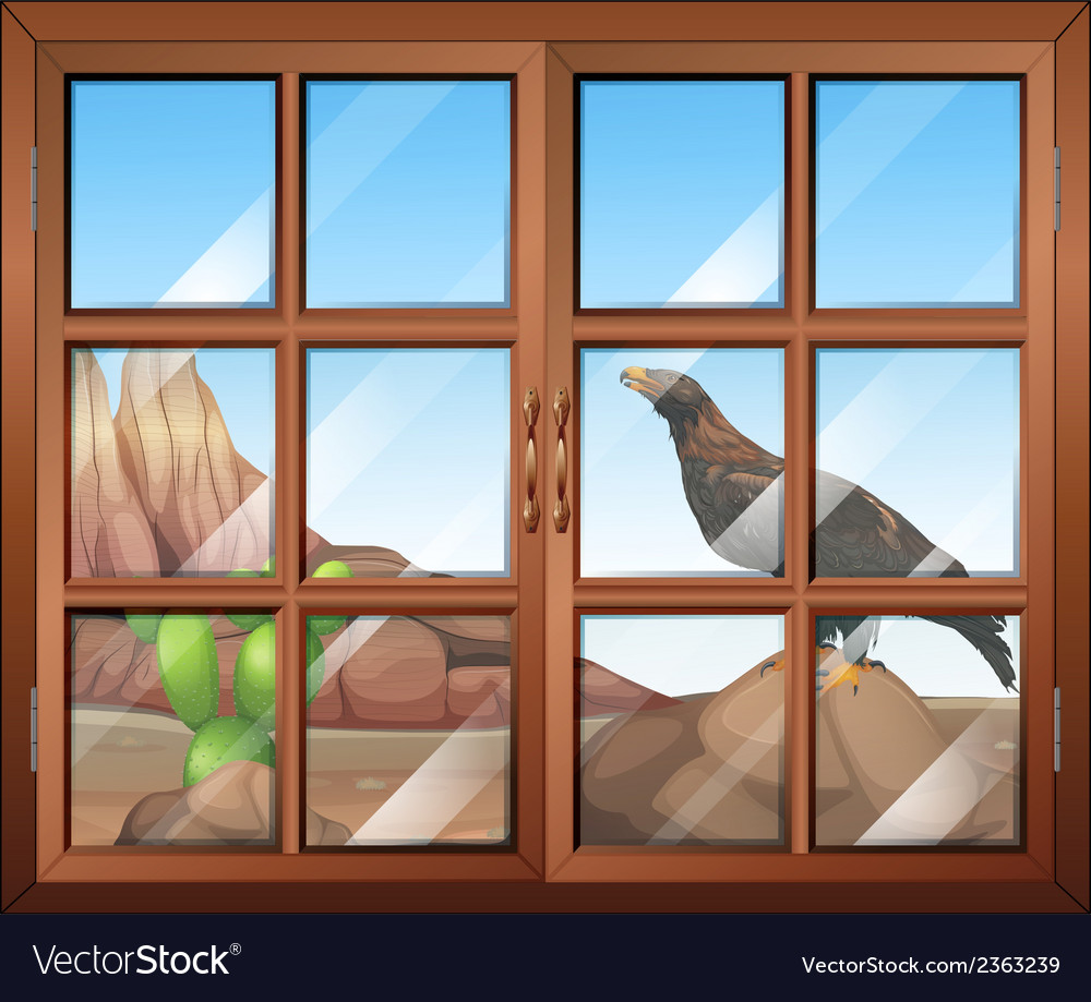 A closed window with a view of the bird at the vector | Price: 1 Credit (USD $1)