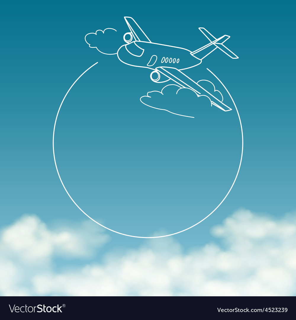 Airplane on background of cloudy sky with space vector | Price: 1 Credit (USD $1)