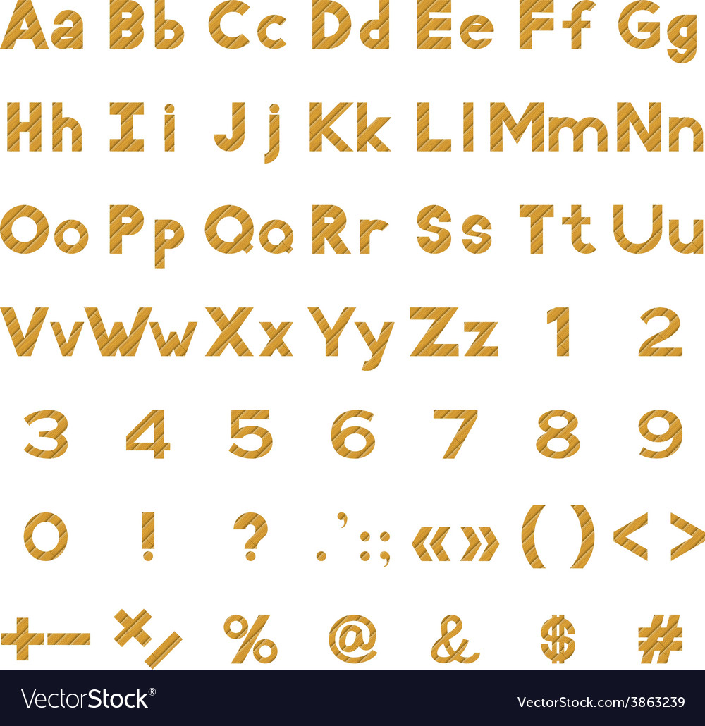 Alphabet numbers and signs set wood vector | Price: 1 Credit (USD $1)