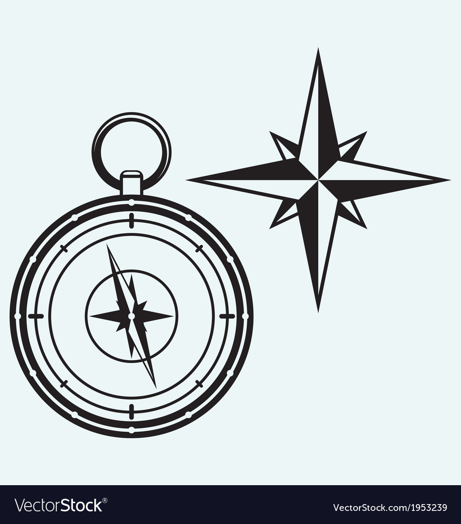 Black wind rose and compass vector | Price: 1 Credit (USD $1)
