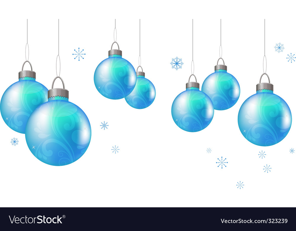 Christmas background with blue balls vector | Price: 1 Credit (USD $1)
