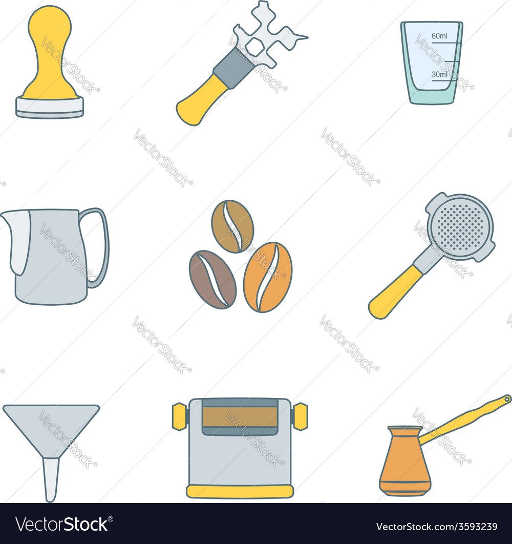 Color outline coffee barista instruments icons set vector | Price: 1 Credit (USD $1)