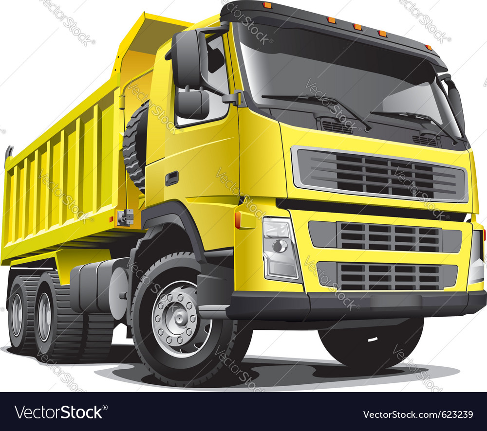 Detailed image of large yellow truck isolated vector | Price: 3 Credit (USD $3)