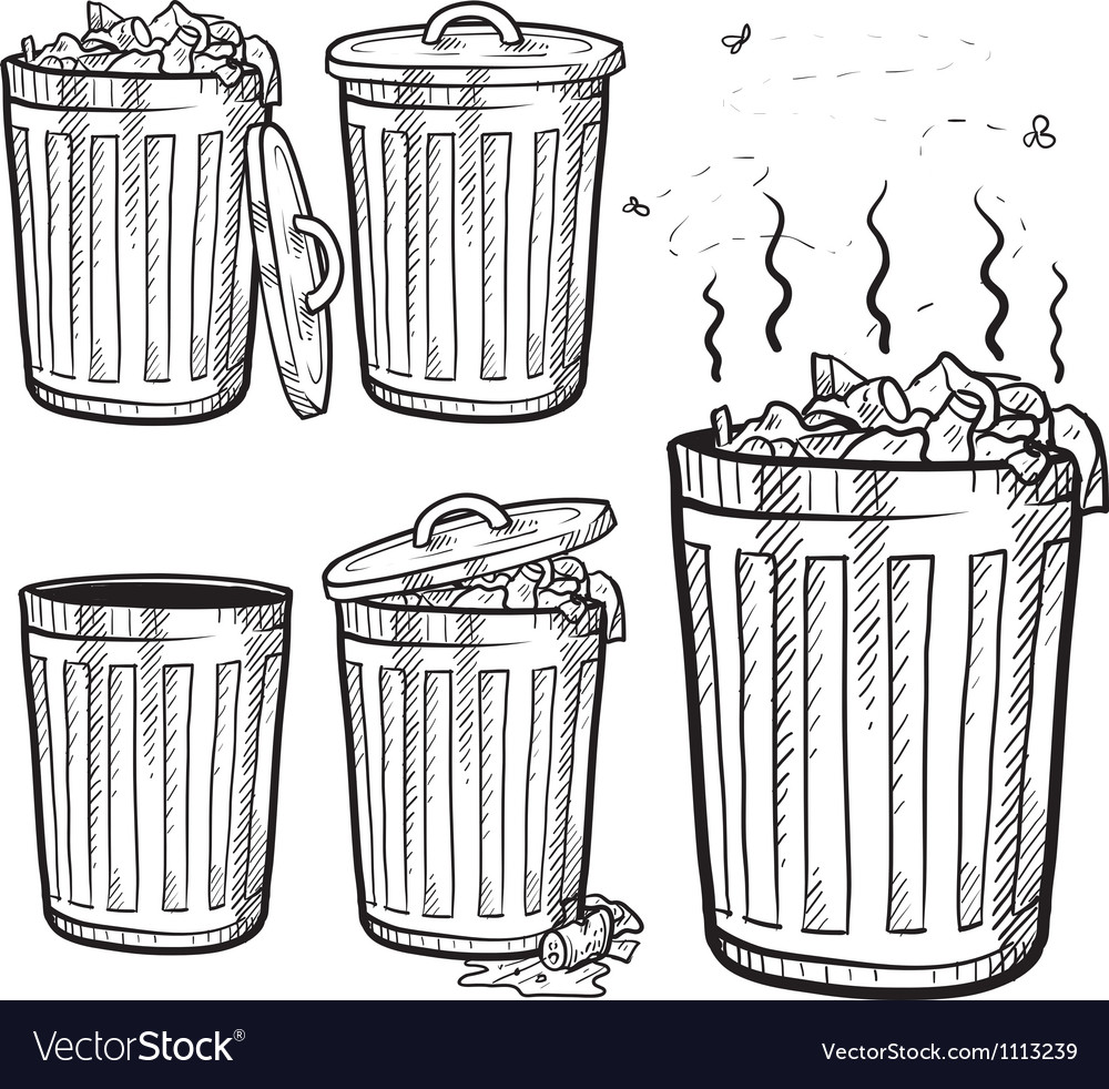 Doodle trash can cans garbage rubbish vector | Price: 1 Credit (USD $1)