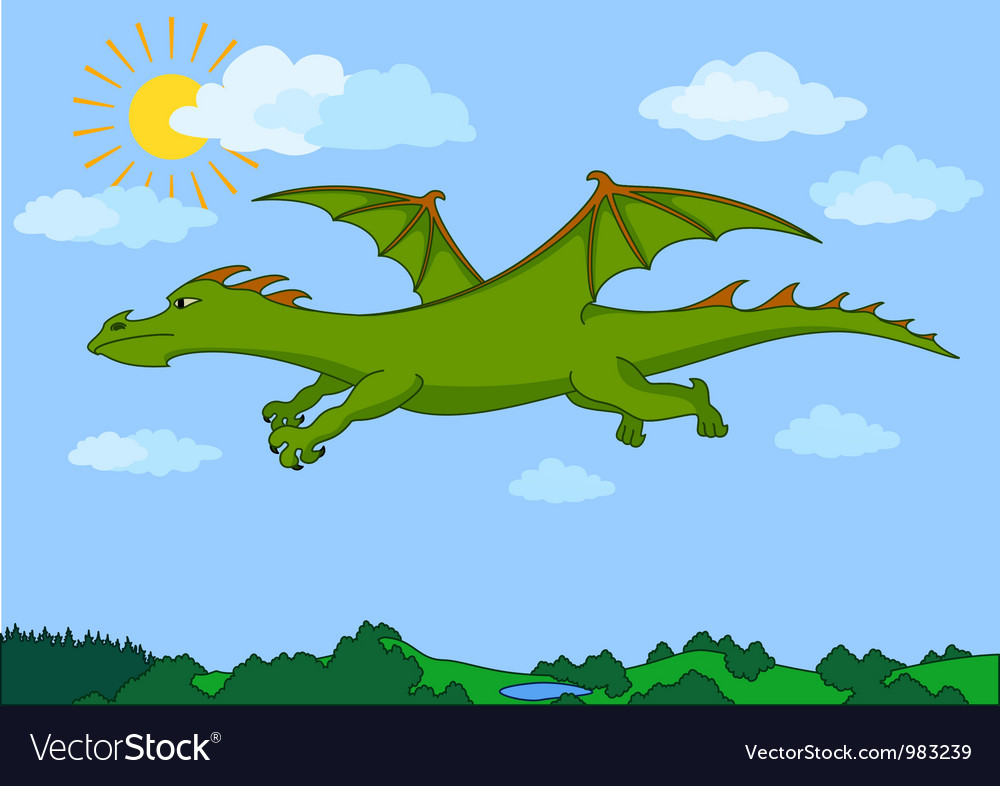 Green fairy dragon flies in the blue sky vector | Price: 1 Credit (USD $1)