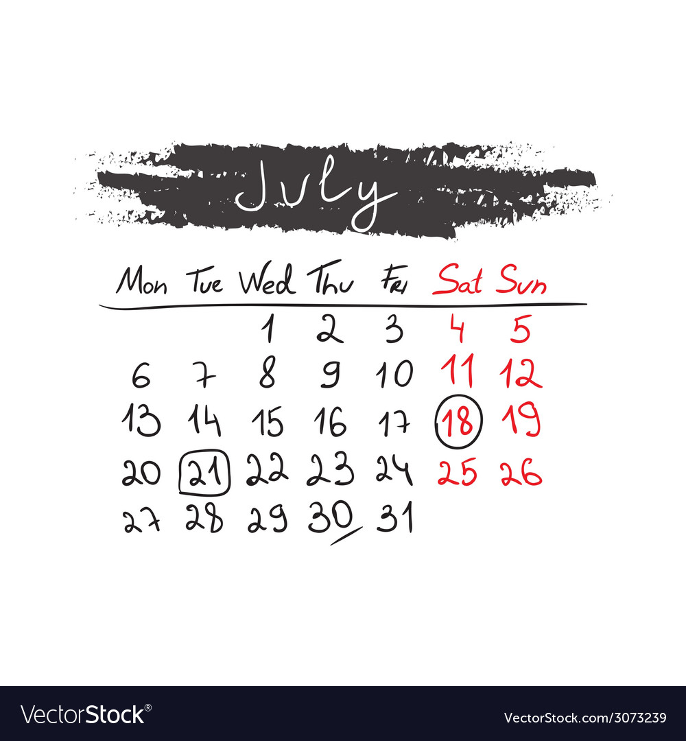 Handdrawn calendar july 2015 vector | Price: 1 Credit (USD $1)