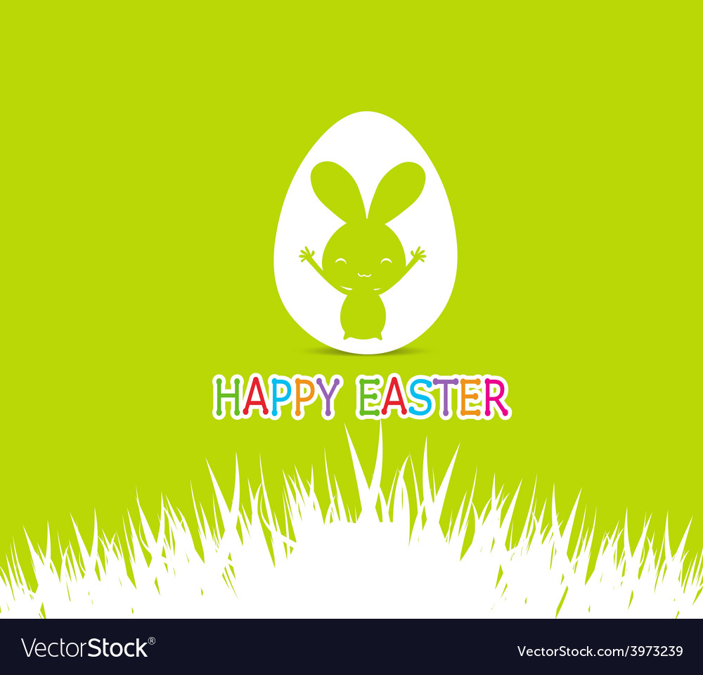 Happy easter cards with easter bunny inside egg vector | Price: 1 Credit (USD $1)