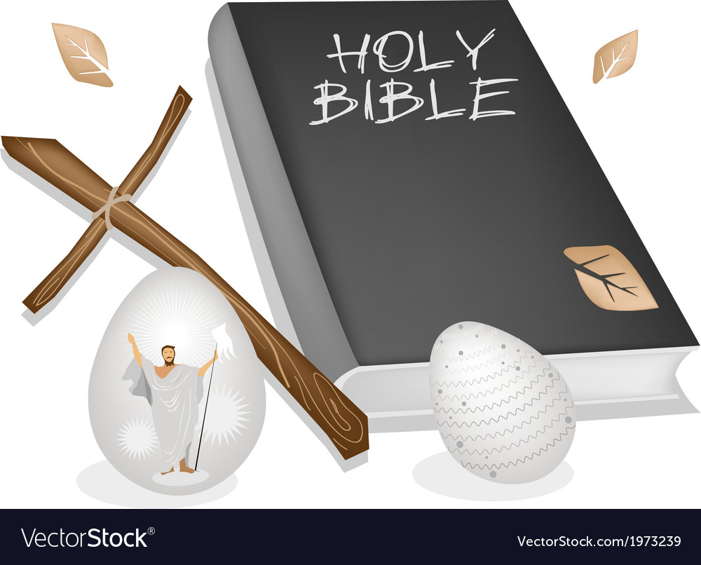 Holy bible with wooden cross and easter eggs vector | Price: 1 Credit (USD $1)