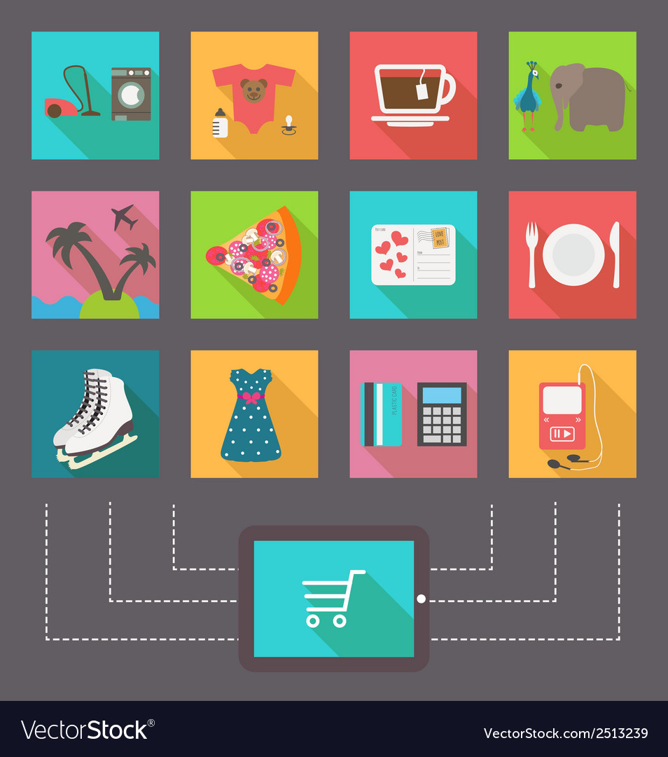 Internet shopping e-commerce activity icons vector | Price: 1 Credit (USD $1)