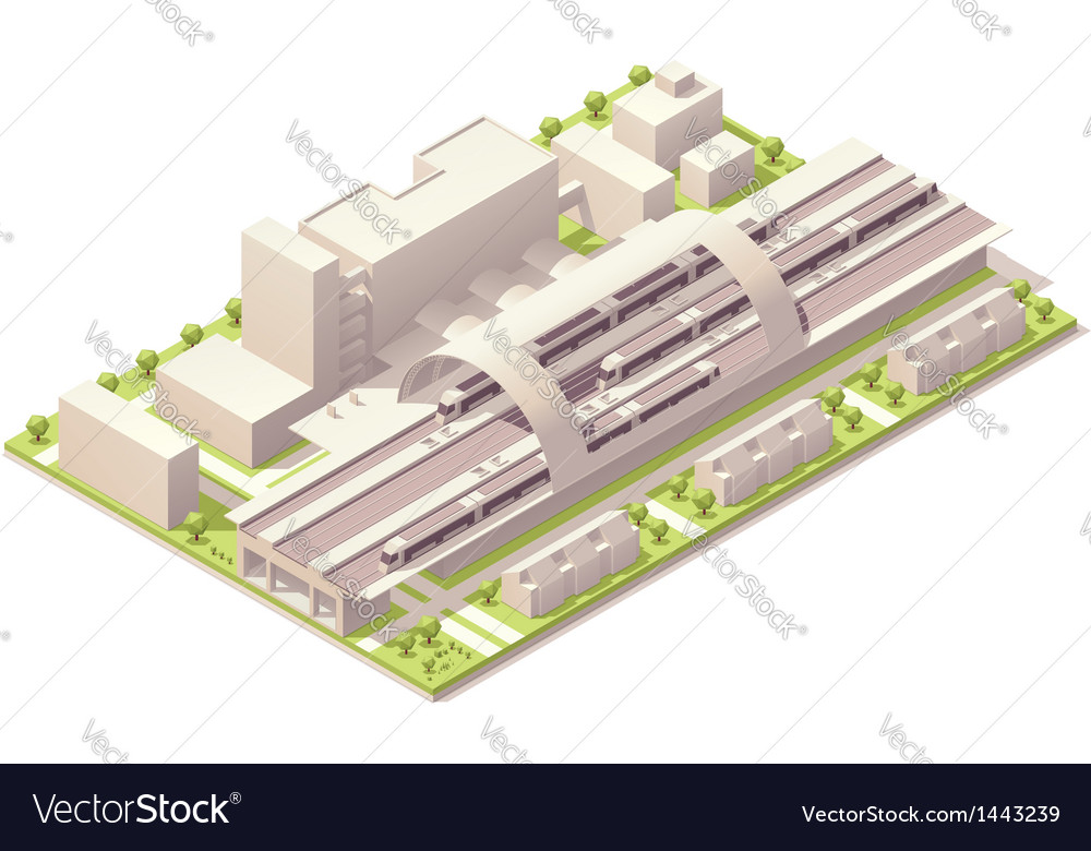 Isometric train station vector | Price: 3 Credit (USD $3)