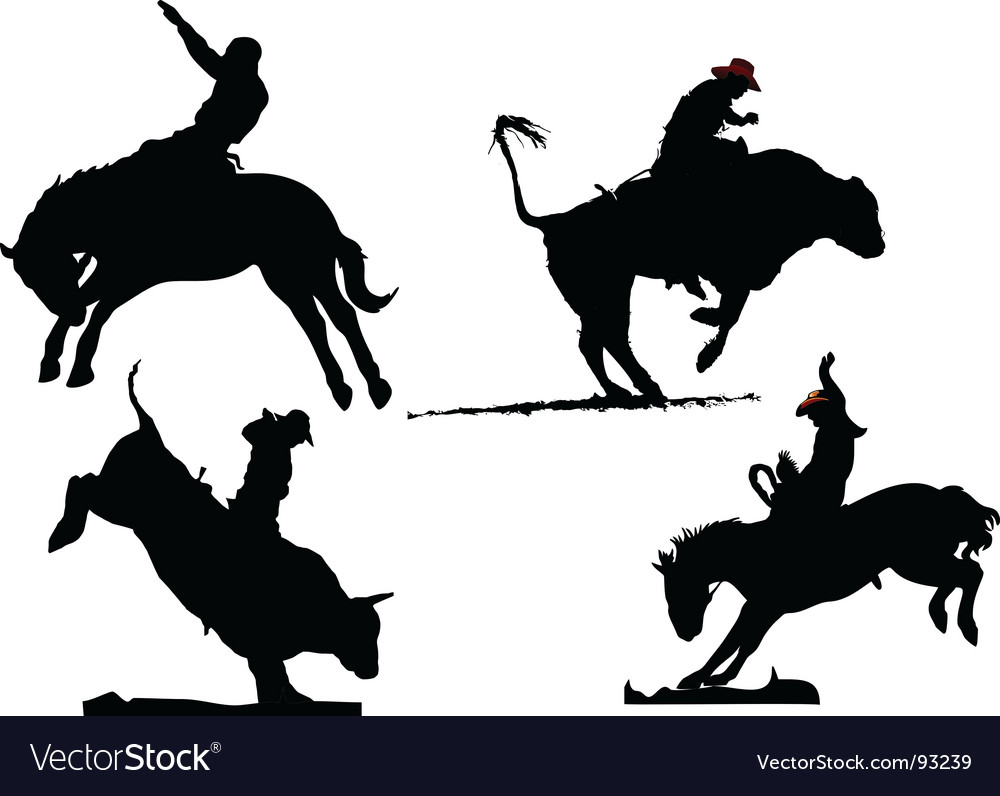 Rodeo silhouettes vector | Price: 1 Credit (USD $1)