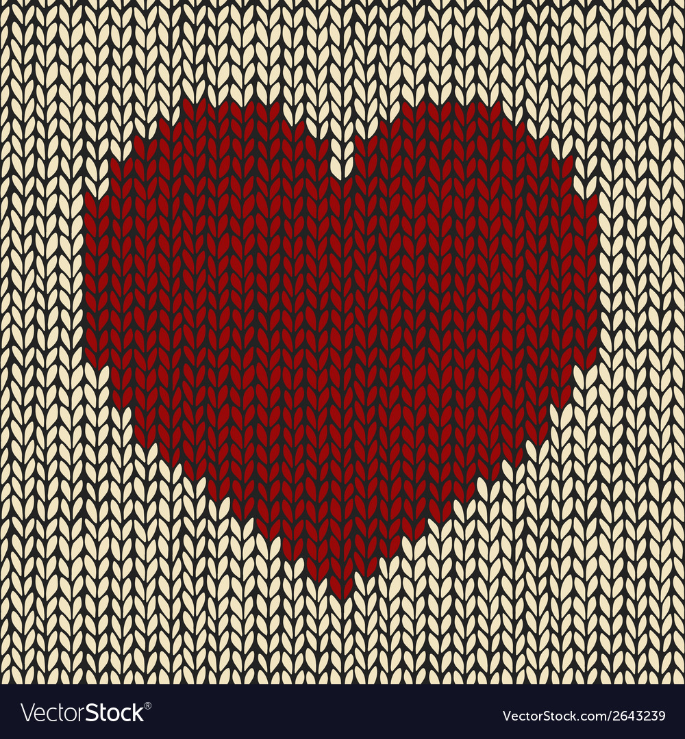 Seamless pattern with red knitted heart vector | Price: 1 Credit (USD $1)